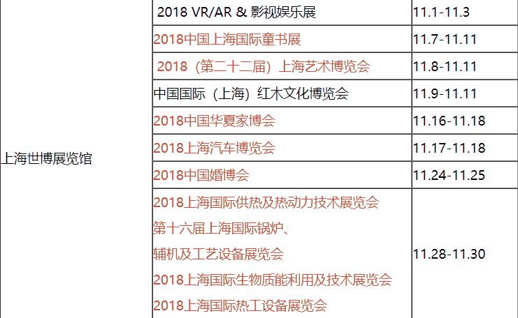 上海展览公司为您分享上海11月展会排期